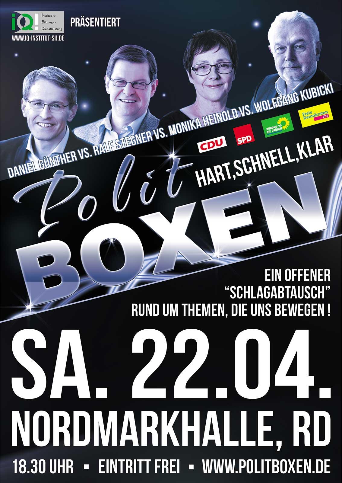 Plakat Politboxen zur Landtagswahl 2017 in Schleswig-Holstein